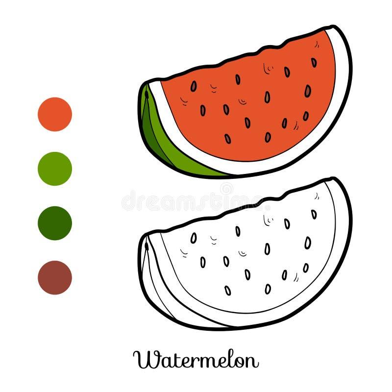 Färgläggningbok: frukter och grönsaker (vattenmelon) royaltyfri illustrationer