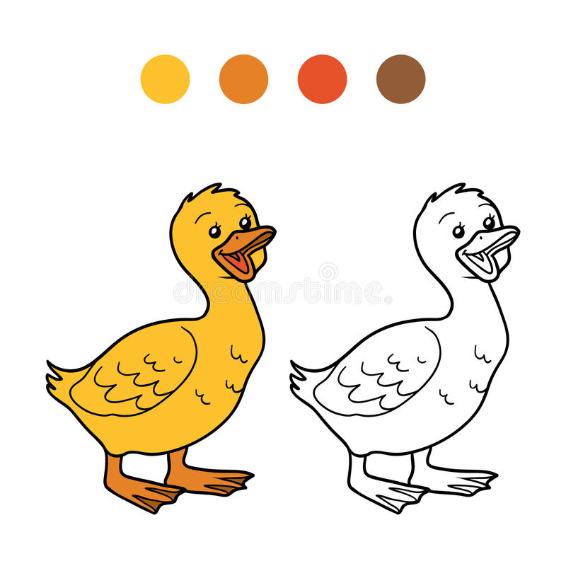Färgläggningbok (gås, fågelungen) stock illustrationer