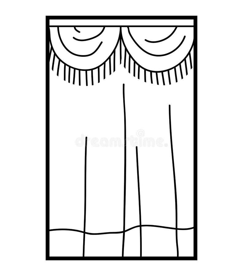 Färgläggningbok, gardiner stock illustrationer