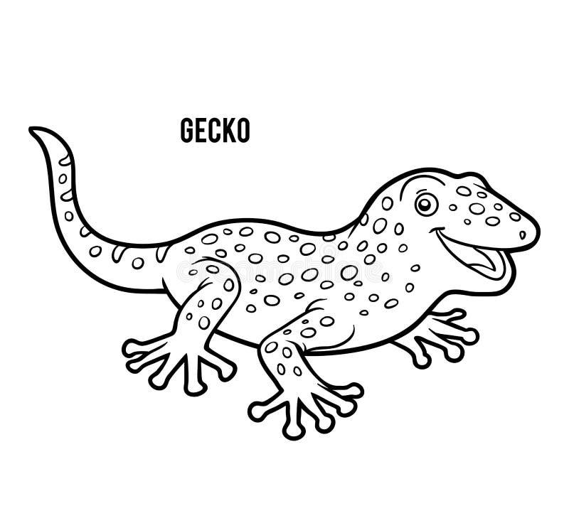 Färgläggningbok, gecko stock illustrationer