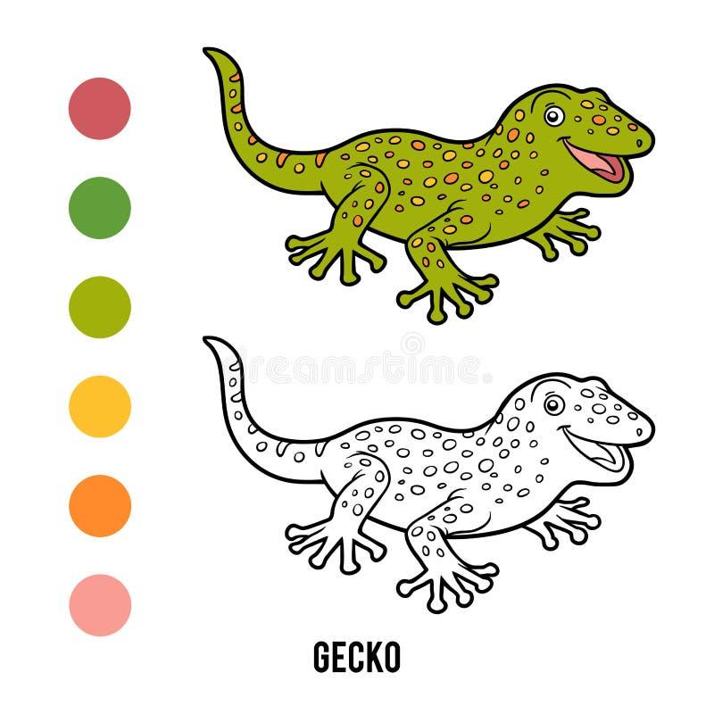 Färgläggningbok, gecko vektor illustrationer