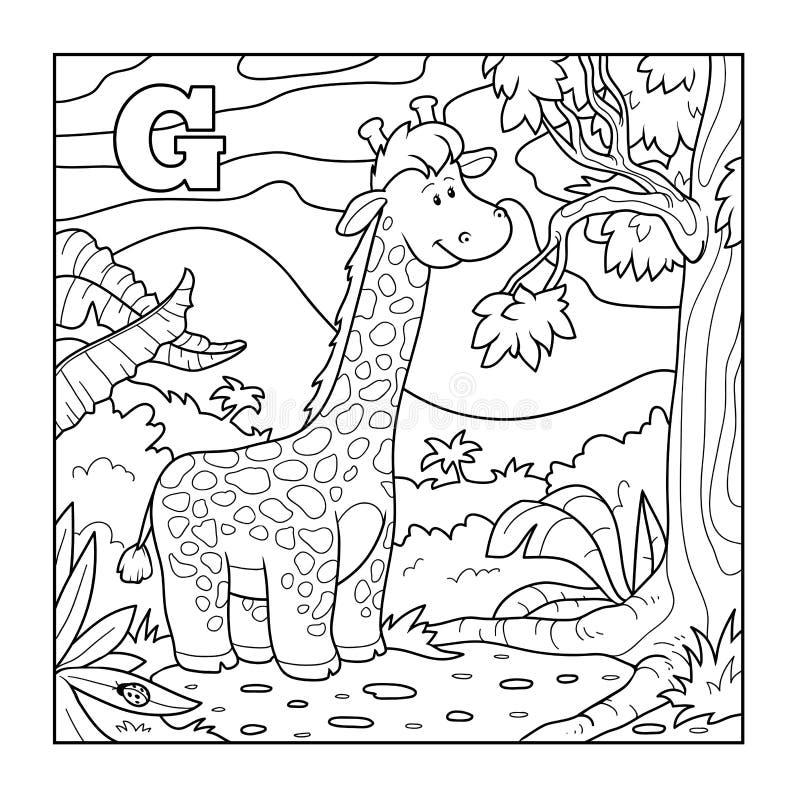 Färgläggningbok (giraffet), akromatiskt alfabet för barn: bokstav royaltyfri illustrationer