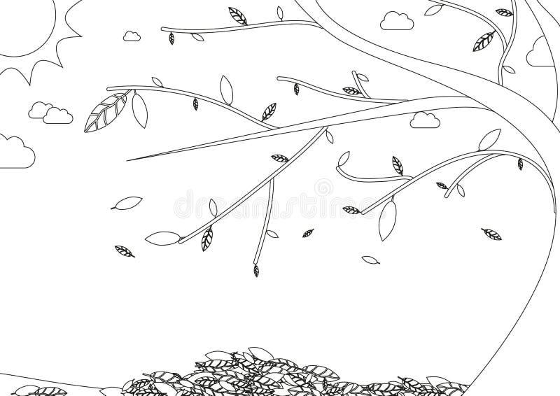 Färgläggningbok - höstlandskap med trädet med fallande sidor stock illustrationer