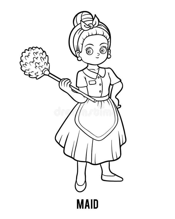 Färgläggningbok, hembiträde royaltyfri illustrationer