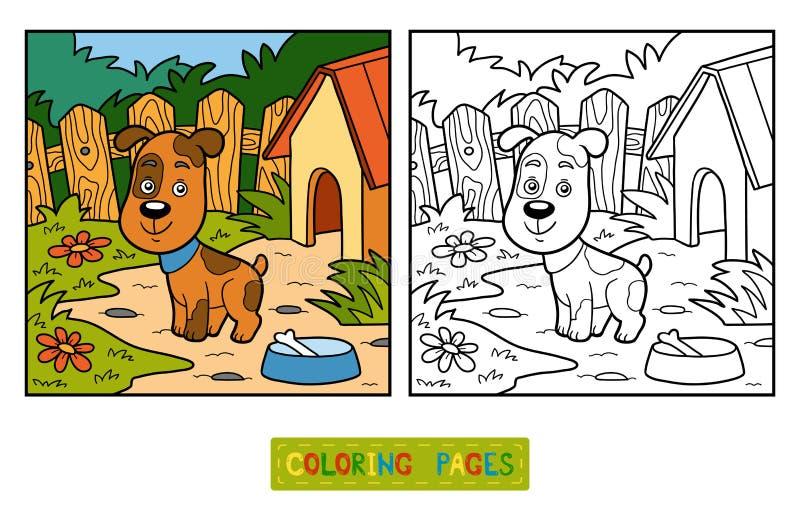 Färgläggningbok (hunden och bakgrund) vektor illustrationer