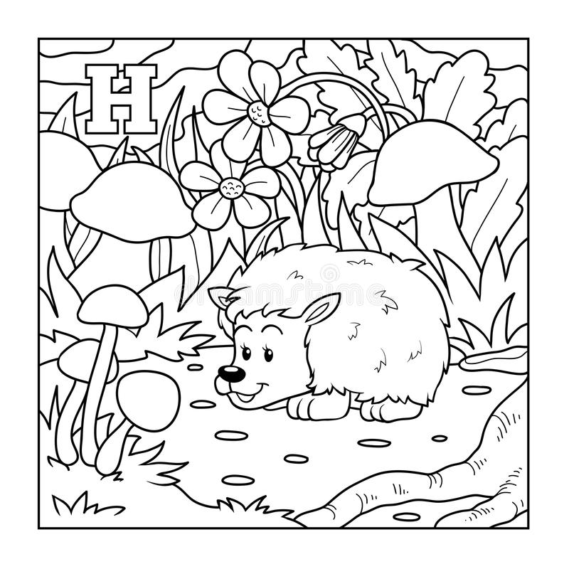 Färgläggningbok (igelkotten), akromatisk illustration (bokstavsH) royaltyfri illustrationer