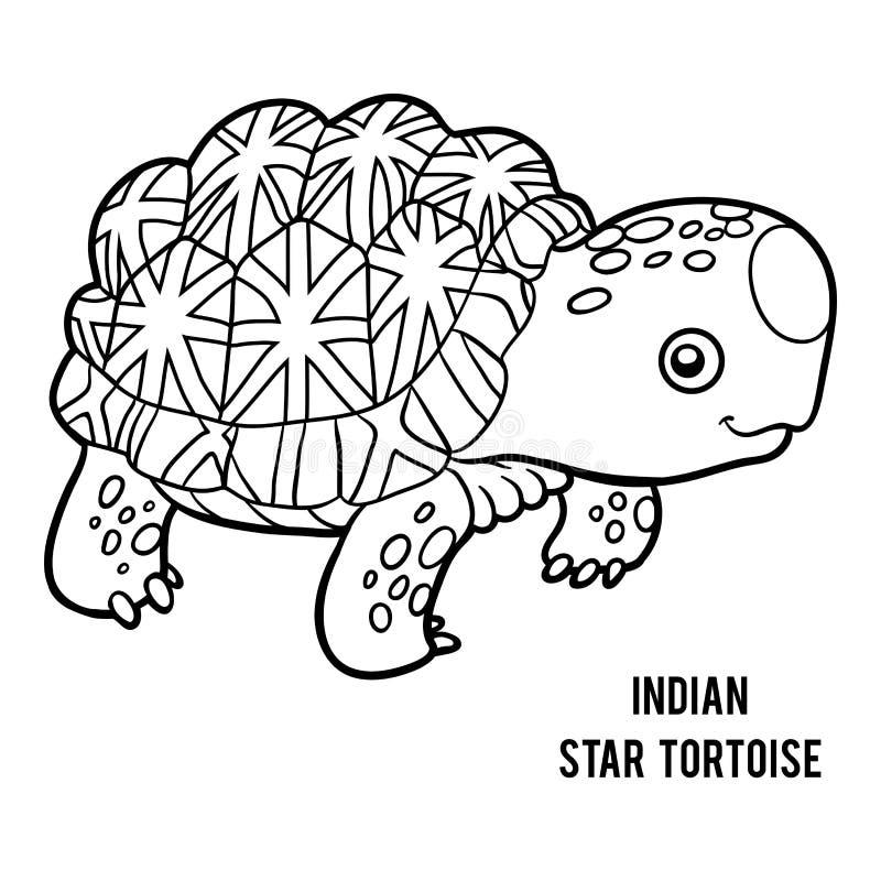 Färgläggningbok, indisk stjärnasköldpadda vektor illustrationer