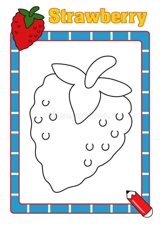 Färgläggningbok, jordgubbe arkivfoto