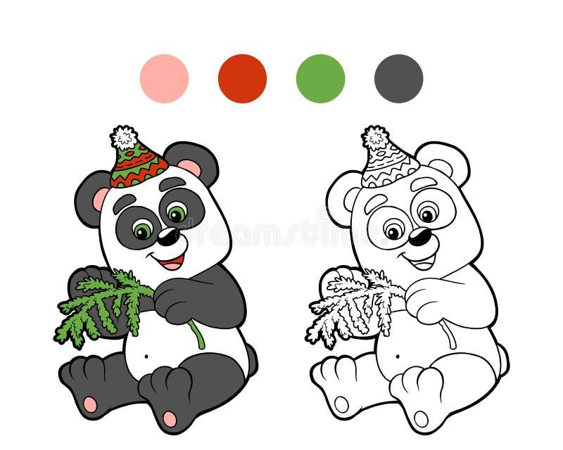 Färgläggningbok: Julvinterpanda vektor illustrationer