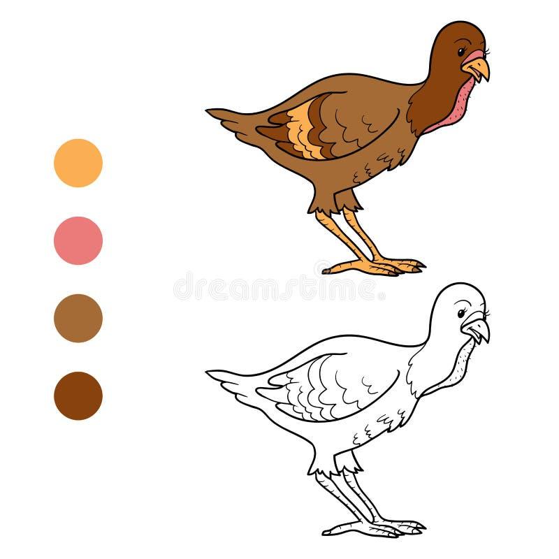 Färgläggningbok (kalkonfågelungen) royaltyfri illustrationer