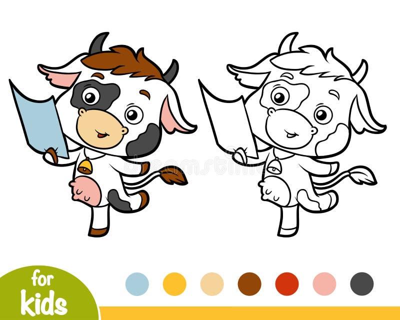 Färgläggningbok, ko och lista av papper stock illustrationer