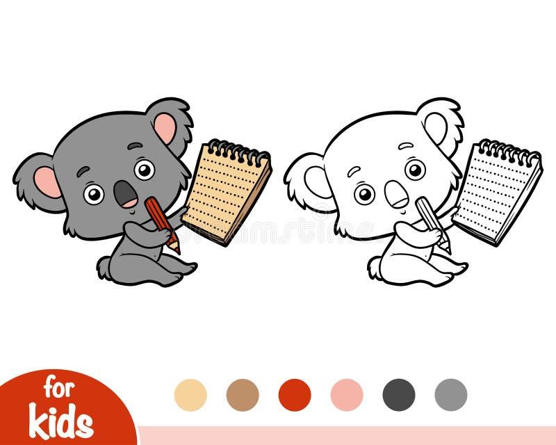 Färgläggningbok, koala och anteckningsbok stock illustrationer
