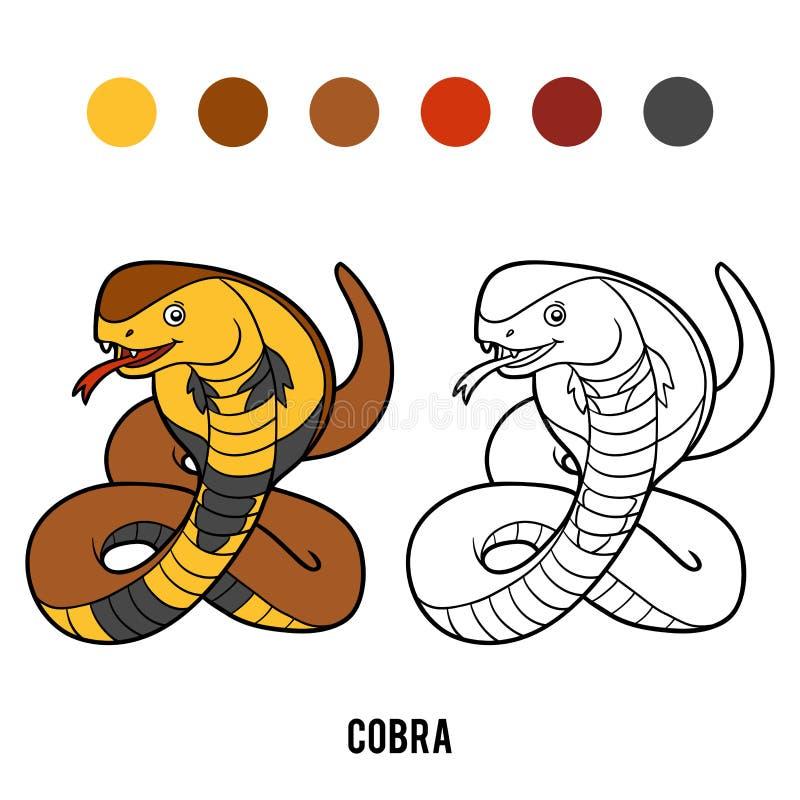 Färgläggningbok, kobra vektor illustrationer