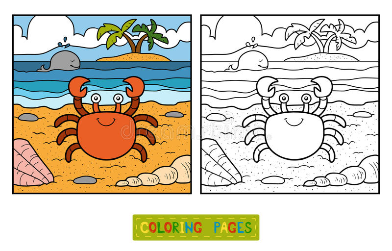 Färgläggningbok (krabban och bakgrund) vektor illustrationer