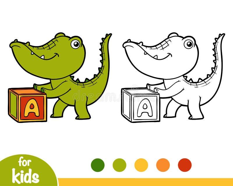 Färgläggningbok, krokodil och kub royaltyfri illustrationer