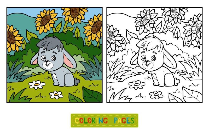 Färgläggningbok, liten kanin och bakgrund royaltyfri illustrationer