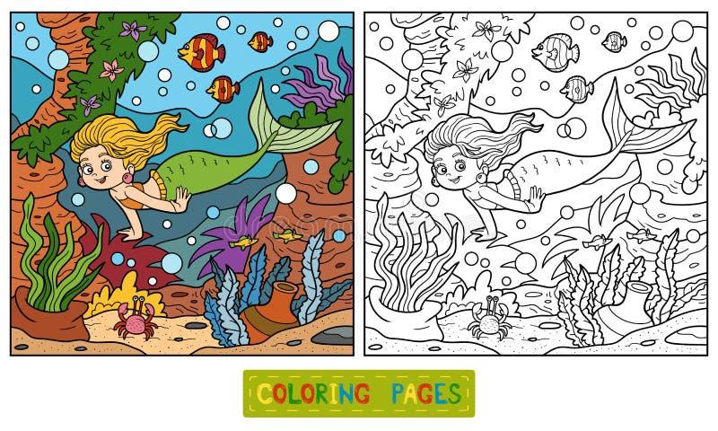Färgläggningbok: liten sjöjungfru och havsvärld vektor illustrationer