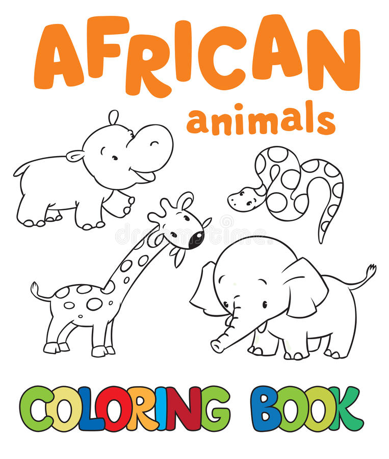Färgläggningbok med afrikanska djur stock illustrationer
