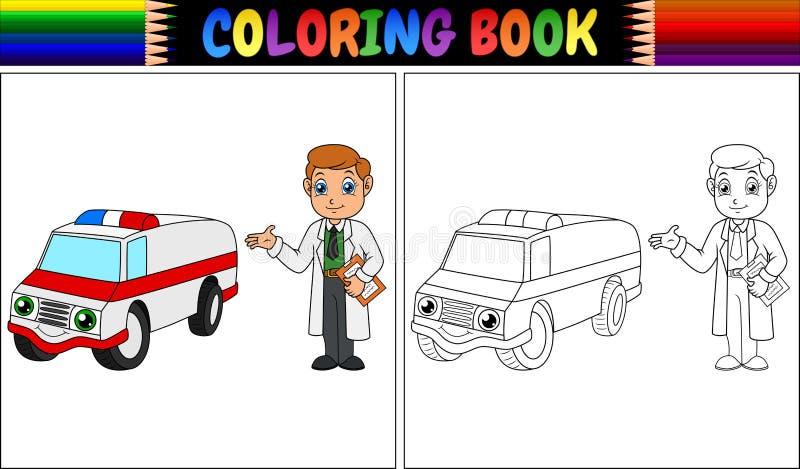 Färgläggningbok med barn doktor och ambulansbilen royaltyfri illustrationer