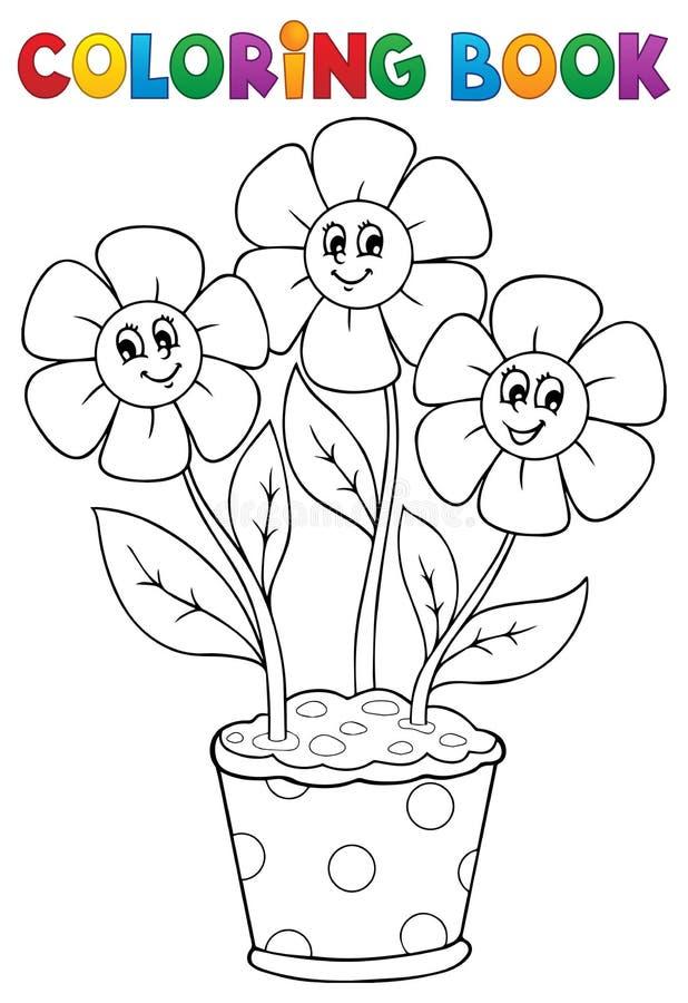 Färgläggningbok med blommatema 5 stock illustrationer