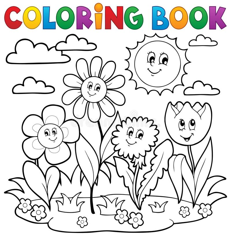 Färgläggningbok med blommatema 7 stock illustrationer