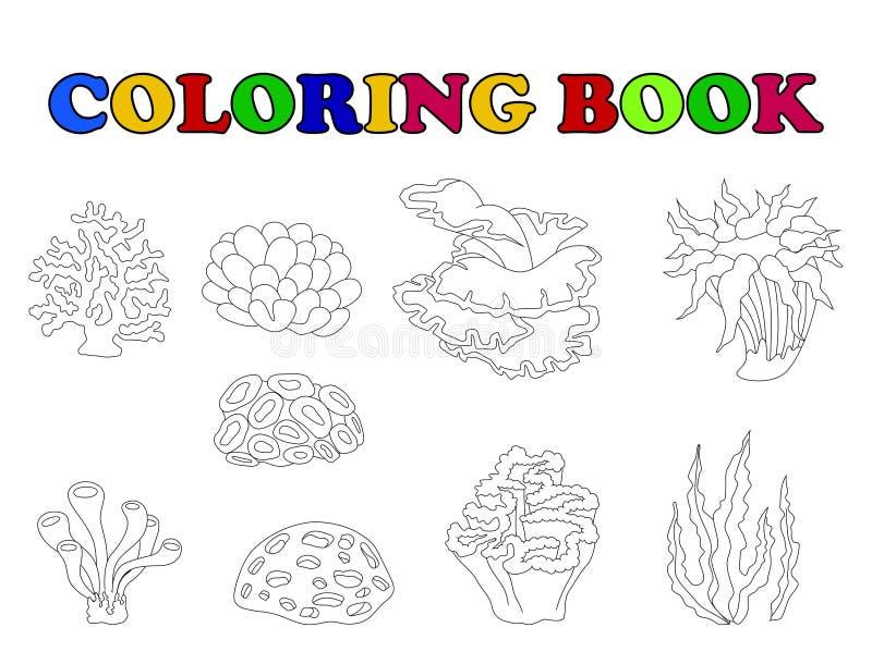 Färgläggningbok med den härliga korallsamlingen vektor illustrationer