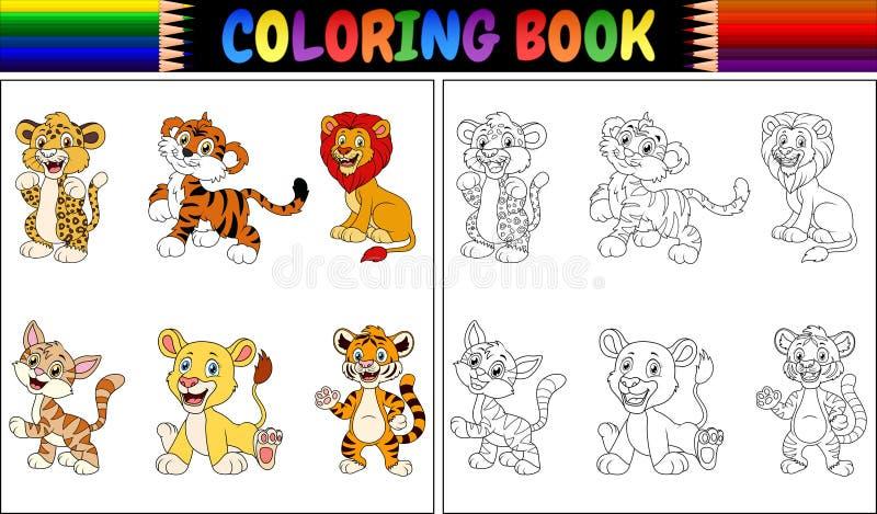 Färgläggningbok med den lösa kattsamlingen royaltyfri illustrationer