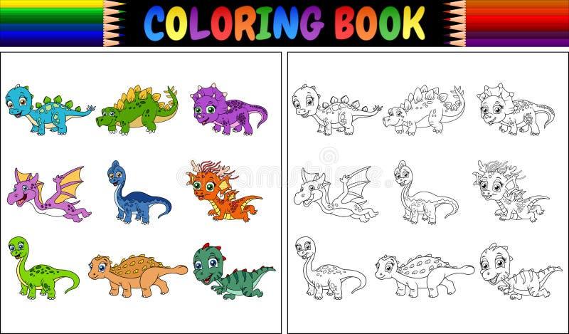 Färgläggningbok med den lilla dinosaurietecknad filmsamlingen vektor illustrationer