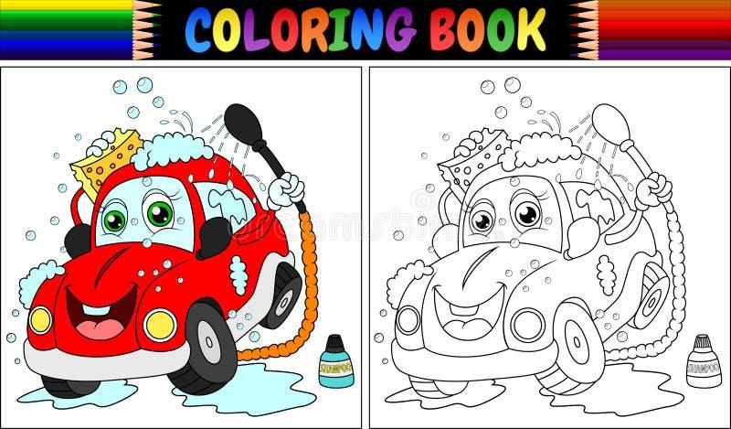 Färgläggningbok med den röda tecknad filmbiltvagningen royaltyfri illustrationer