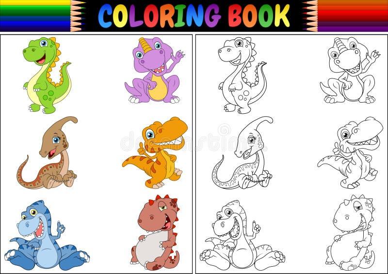 Färgläggningbok med dinosaurietecknad filmsamlingen stock illustrationer
