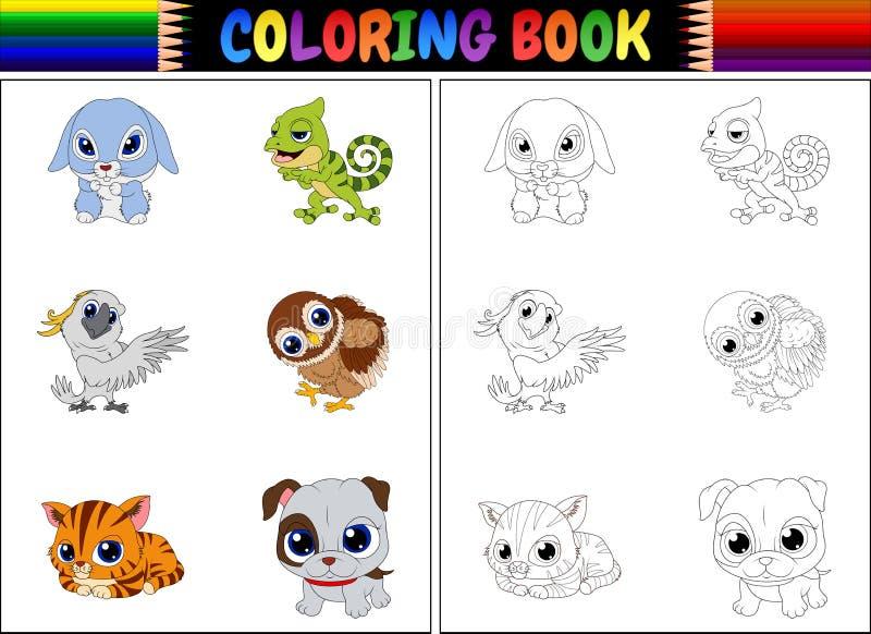 Färgläggningbok med djurtecknad filmsamlingen vektor illustrationer