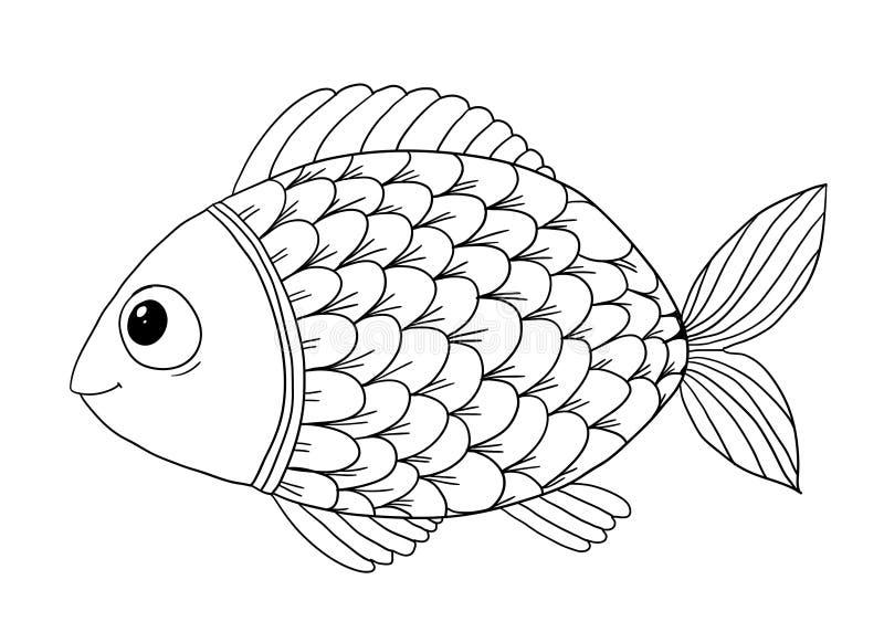 Färgläggningbok med fisken royaltyfri illustrationer