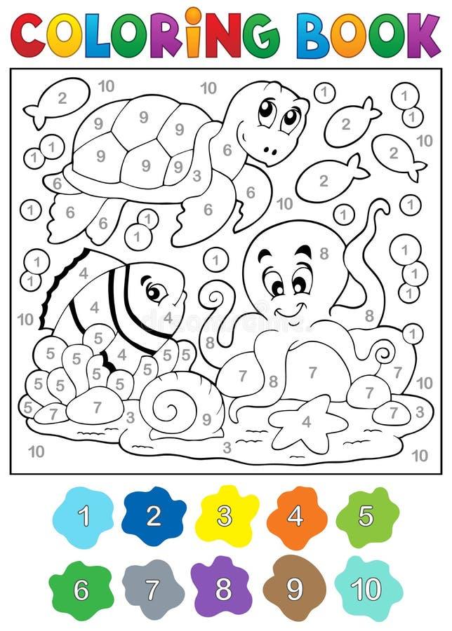 Färgläggningbok med havsdjur 4 stock illustrationer