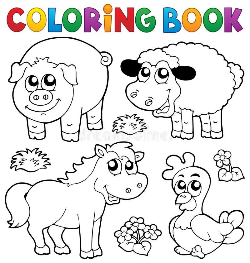 Färgläggningbok med lantgårddjur 5 royaltyfri illustrationer