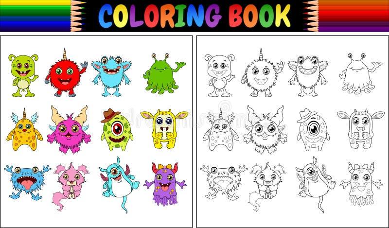 Färgläggningbok med monstertecknad filmsamlingen royaltyfri illustrationer