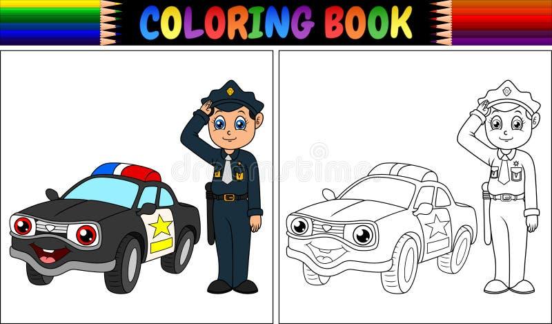 Färgläggningbok med polisen och polisbilen vektor illustrationer