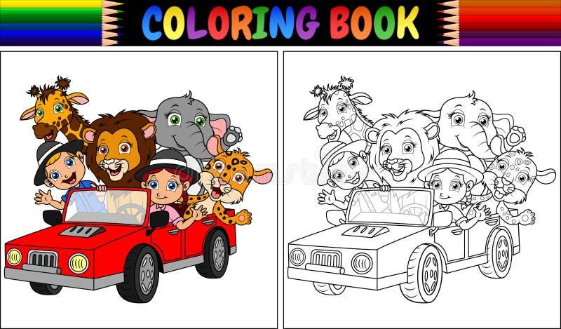 Färgläggningbok med roliga ungar och den djura tecknade filmen på den röda bilen stock illustrationer