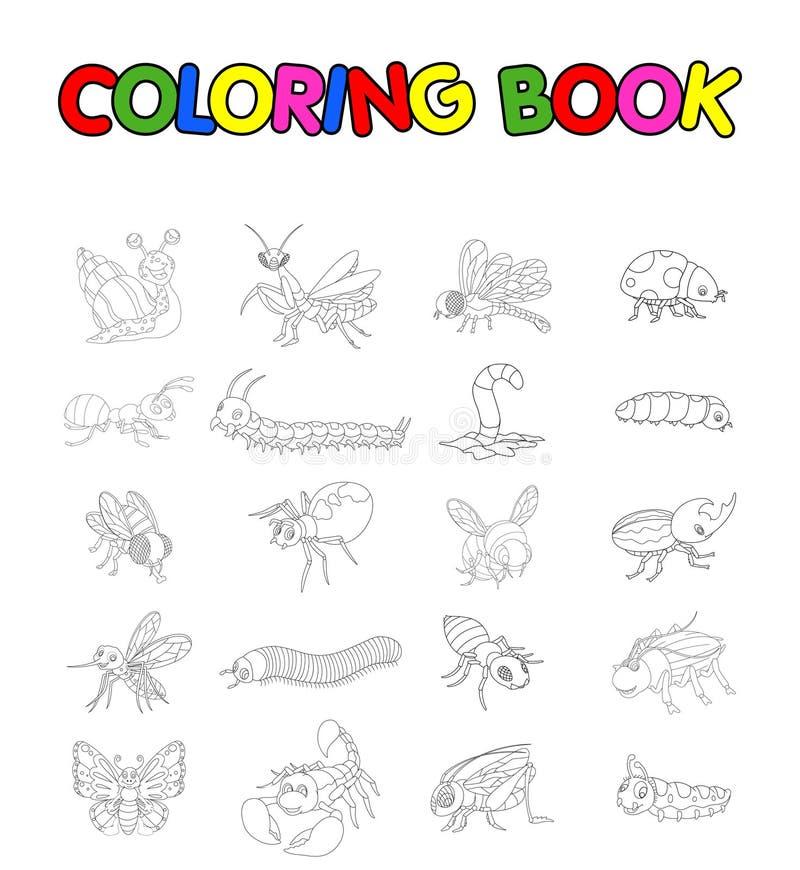 Färgläggningbok med samlingen av kryp stock illustrationer