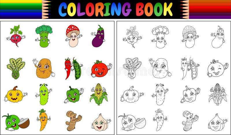 Färgläggningbok med tecknade filmen för nya grönsaker stock illustrationer