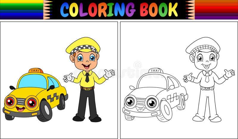 Färgläggningbok med tecknade filmen för taxichaufför vektor illustrationer