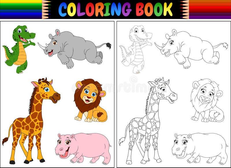 Färgläggningbok med vilda djurtecknade filmen vektor illustrationer