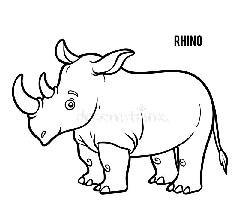 Färgläggningbok, noshörning stock illustrationer