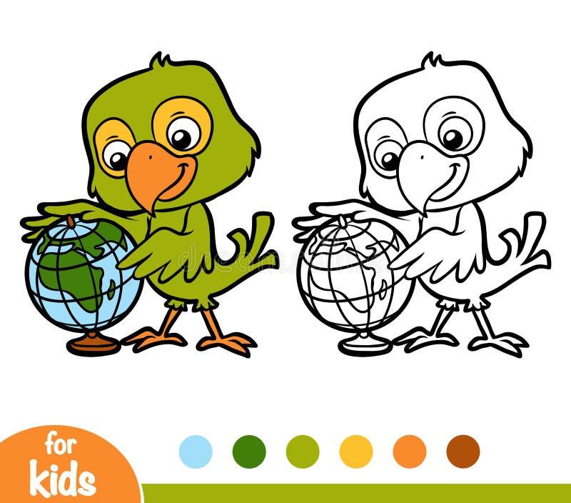 Färgläggningbok, papegoja och jordklot royaltyfri illustrationer