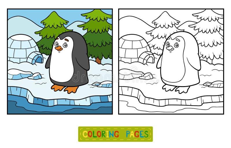 Färgläggningbok (pingvinet och bakgrund) stock illustrationer