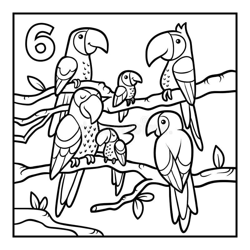 Färgläggningbok, sex papegojor stock illustrationer