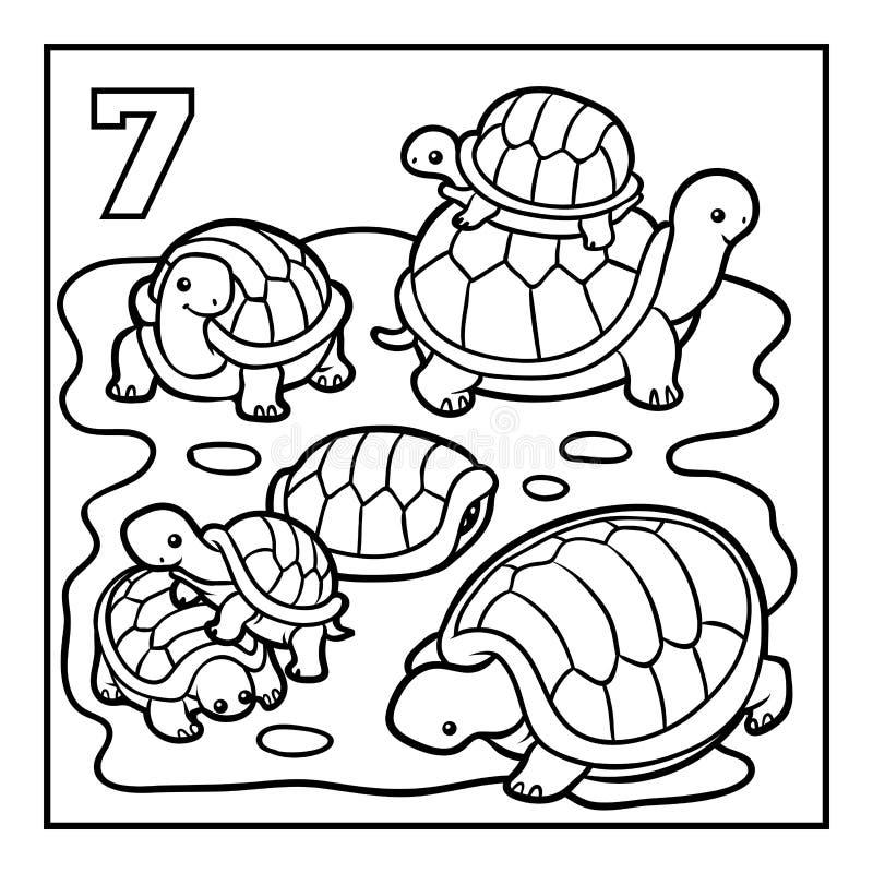 Färgläggningbok, sju sköldpaddor royaltyfri illustrationer