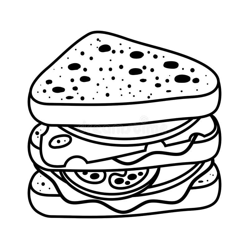 Färgläggningbok, smörgås stock illustrationer