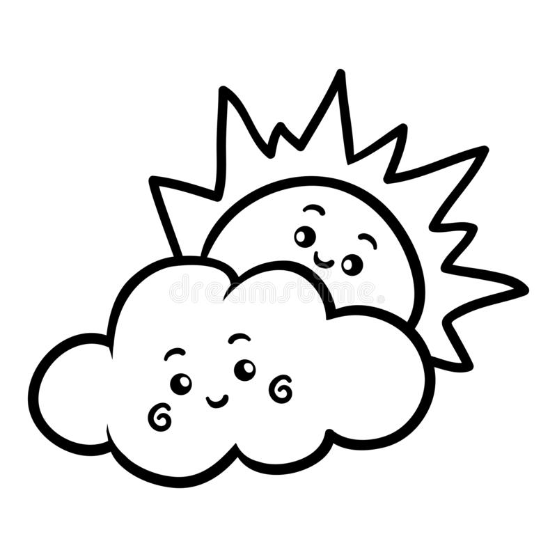 Färgläggningbok, sol och moln med en gullig framsida royaltyfri illustrationer