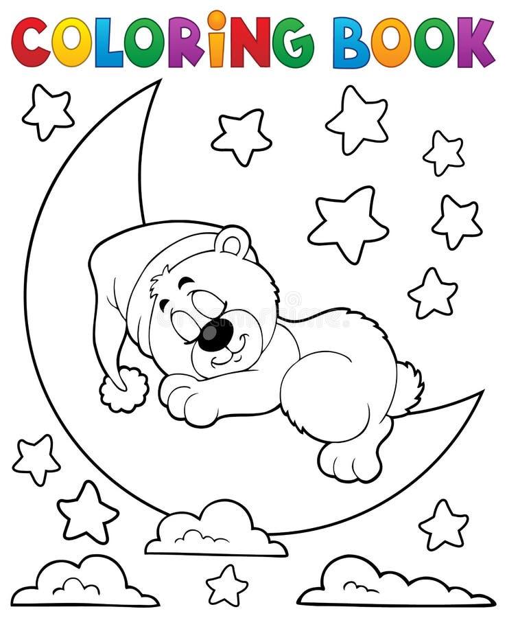 Färgläggningbok som sover björntema 2 royaltyfri illustrationer