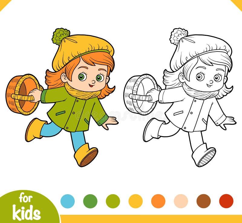 Färgläggningbok, tecknad filmliten flicka med en korg för champinjoner vektor illustrationer